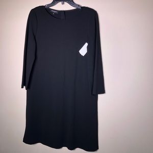 Lafayette 148 Bell Sleeve Black Sheath Dress Small